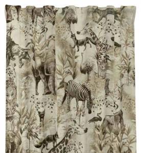 Gardinlängd Africa, sammet, djungeldjur, beige