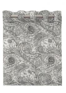 Öljettlängd Andria, 2-pack gardin med paisleymönster, vit botten med mönster i grått