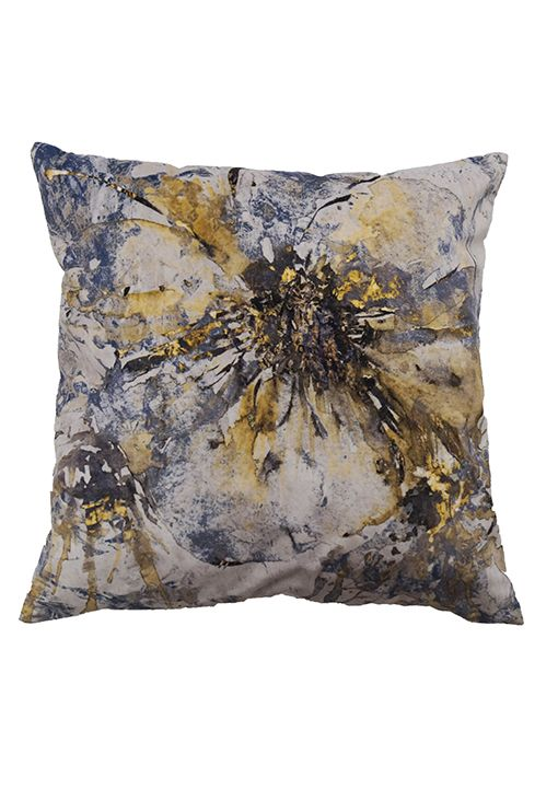 Artflower sammets kuddfodral från Nina Royal i färgerna guld, blått och grått  Peach. Abstrakt blommönstrad kudde.