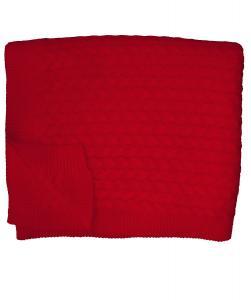 Pläd Bergen, stickad pläd i vackert flätmönster, röd