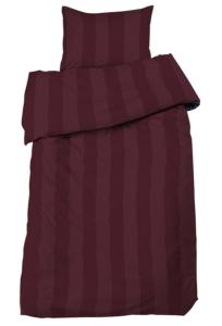Bäddset Big stripe, ljuvligt skön satin, färg vinröd