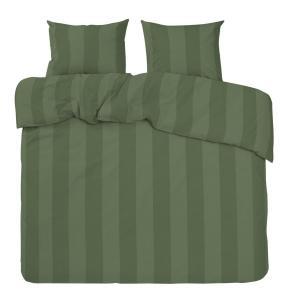 Bäddset Big stripe, ljuvligt skön satin, olivgrön