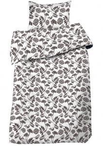 Bäddset Bird, fåglar och blad, färg grå