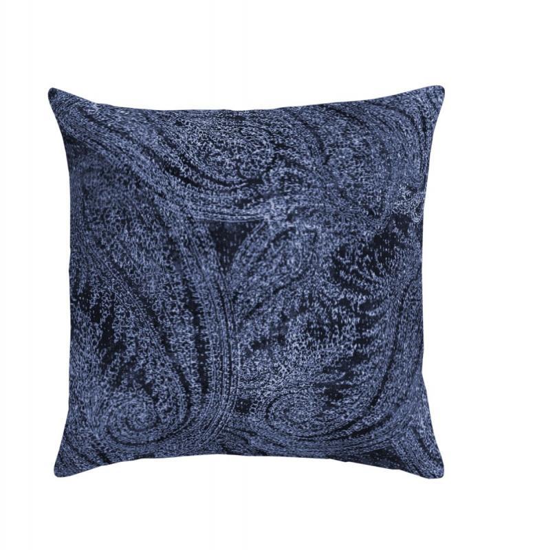 Kuddfodral Boss, sammet med vackert paisleymönster, blå