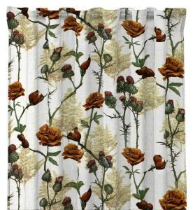Gardinlängd Britta, kvistar med rosor på ljus botten, terracotta