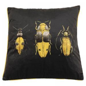 Kuddfodral Bugs, kuddfodral i svart sammet med motiv av insekter i svart och gult.