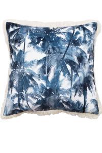 Kuddfodral Cancun i sammet med palmer, blå