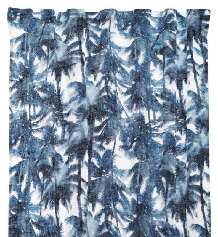 Gardinlängd Cancun i tunn skir kvalité med palmer, blå