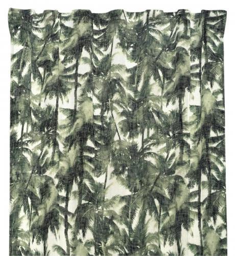 Gardinlängd Cancun i tunn skir kvalité med palmer, grön