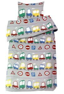 Bäddset Cars, med bilar och trafikmärken, för den minste bilälskaren, färg multi