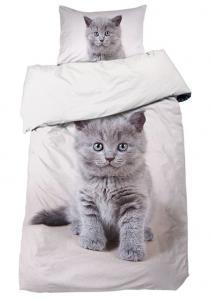 Bäddset Cat, digitaltryck, söt katt, färg vit