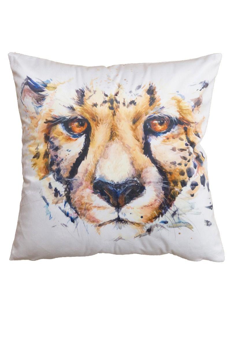 Kuddfodral Catface i sammet med Leopardhuvud