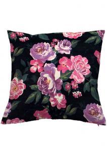 Kuddfodral Chanel, svart sammet med vackra rosa blommor