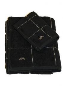 Chess, enfärgad skön frotté med vita stickningar i rutor, svart