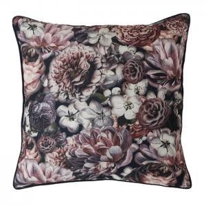 Kudde CHESSY, blommor, grå/lila/rosa