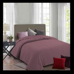 Överkast Cosy, stentvättat överkast med rutquiltning, rosa. Från Redlunds