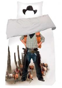 Bäddset Cowboy, digitaltryckt, färg vit