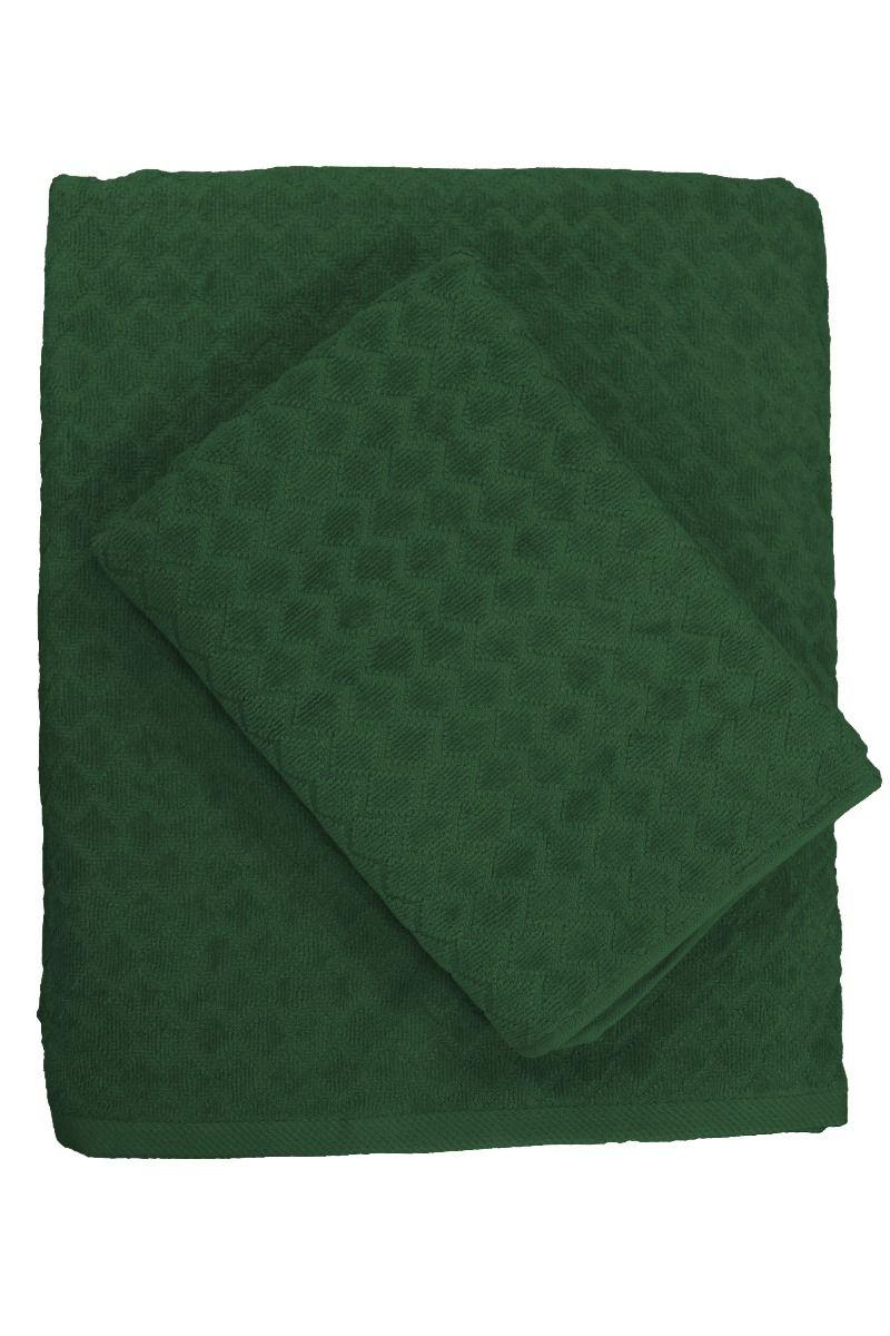 Diamond frotté, lyxig velour med snyggt rutmönster, mörkgrön