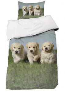 Bäddset Dogs, valpar i digitaltryck, färg vit