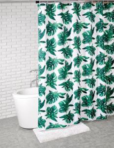 Duschdraperi med stora Monstera blad