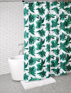Duschdraperi BLAD, bladmönster, grön