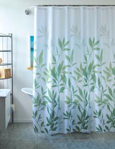 Duschdraperi med gröna löv