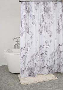 Duschdraperi, marmormönstrat, vit bottenfärg med grått mönster