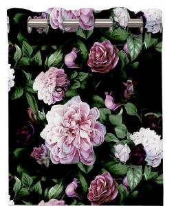 Öljettlängd Eliza, 2-pack med vackert rosa rosor på svart botten.