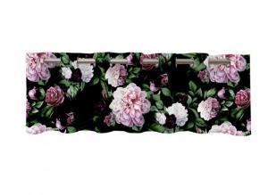 Öljettkappa Eliza, med vackert rosa rosor på svart botten.