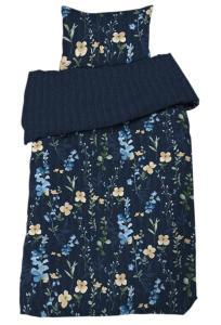 Bäddset Emmy, blomster på blå botten