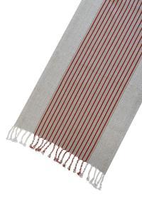 Bordslöpare Furudal, linne, vävda ränder i rött.