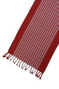 Bordslöpare Furudal, löpare, röd med vävda ljusa ränder.
