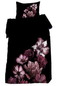 Bäddset Grande, stora blommor, svart/plum