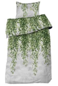 Bäddset Gren i satin med vackert bladmönster, grön