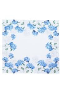 Bordduk Hortensia med vit spets, blå