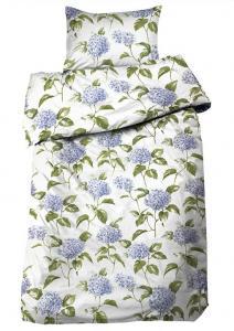 Bäddset Hortensia, satin med ljuvliga blommor, färg blå