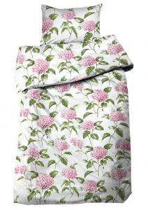 Bäddset Hortensia, satin med ljuvliga blommor, färg rosa