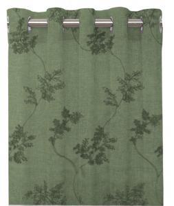 Gardinlängd Jannike, broderad effekt, olivgrön
