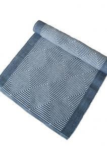 blå mönstrad bordslöpare i bomull