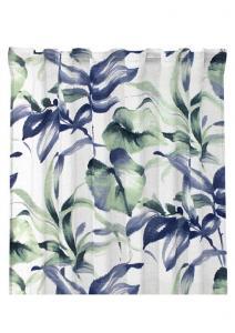 Gardinlängd Jonna, sammet, olika blad med något suddig kontur, blå