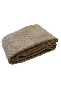Fotpläd Kalahari, stentvättad och quiltad sammet, beige
