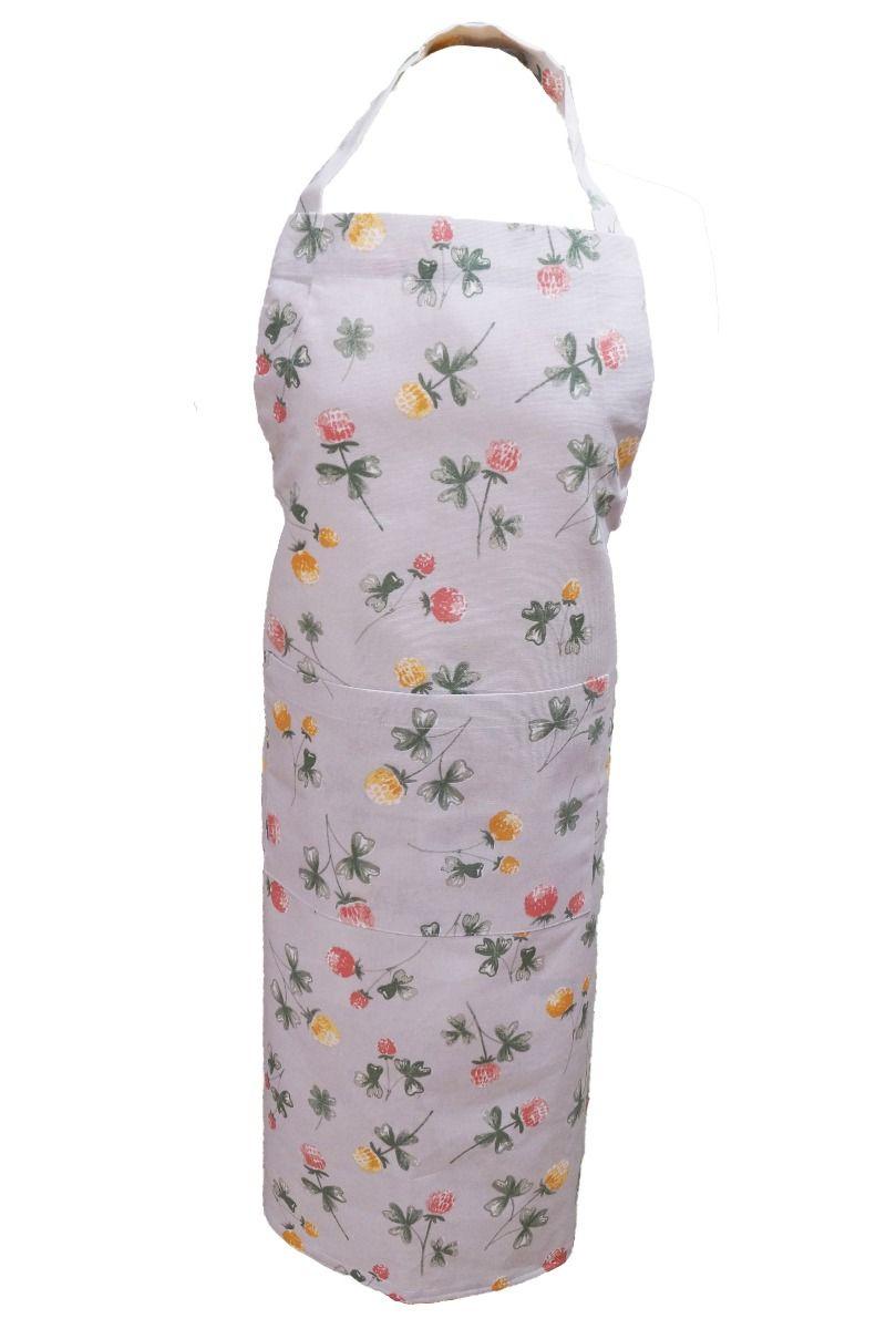 Förkläde Klöver, köksserie i många delar med klöverblommor, grå/gul