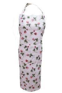 Förkläde Klöver, köksserie i många delar med klöverblommor, vit/röd