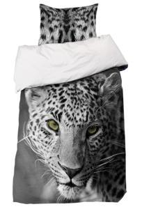 Bäddset Leopard, svart/vit