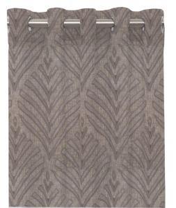Öljettlängd Leroy, skir gardin med mönster som bildar löv, grå