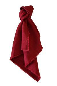 Servett Linne, fransad kant, röd