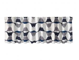 Färdig gardinkappa Magnum med multiband, grafiskt mönster, vit, grå och blå.
