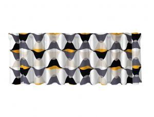 Färdig gardinkappa Magnum med multiband, grafiskt mönster, vit, grå och gul