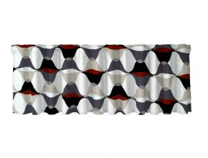 Färdig gardinkappa Magnum med multiband, grafiskt mönster, vit, grå och röd