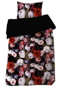 Bäddset Monroe, vackra blommor på digitaltryckt i satin, färg multi